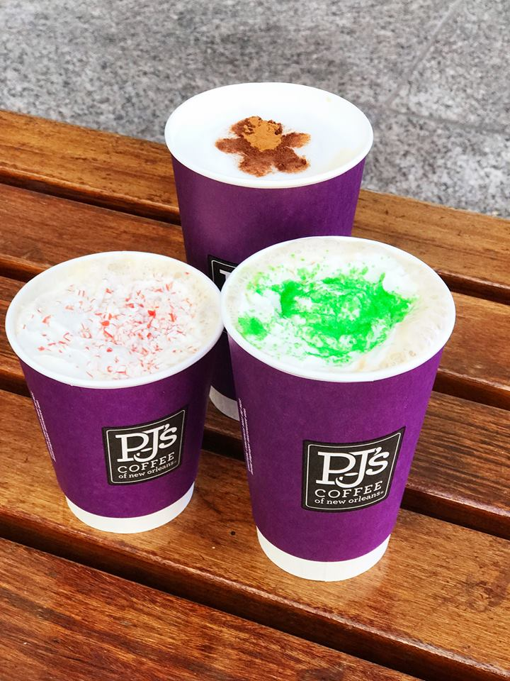 limited-time holiday beverages at PJ's Coffee