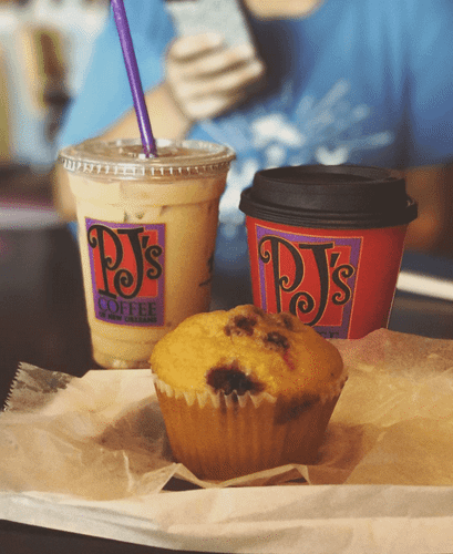 PJ's Iced Coffee, Hot Coffee and Muffin