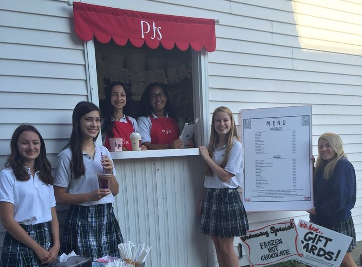 Students at a local high school practice business ownership with their own mini PJ's Coffee shop