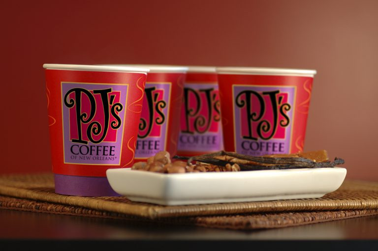 PJ's Coffee Cups and Beans